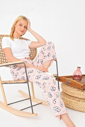 Trend Alaçatı Stili Kadın Somon Panda Desenli Polar Pijama Altı MTX-1006