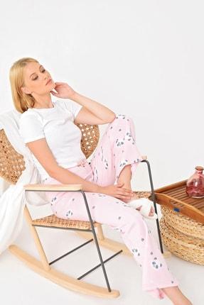 Trend Alaçatı Stili Kadın Toz Pembe Panda Desenli Polar Pijama Altı MTX-1006