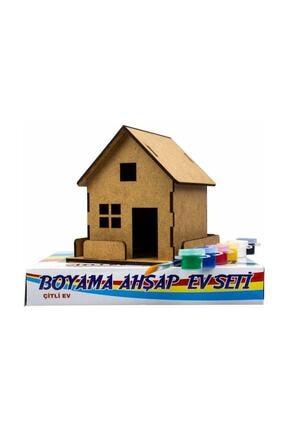 Emin İş Eğitimi Ahşap Boyama Ev Seti Çitli 6 Renk Boya Ve Fırçalı