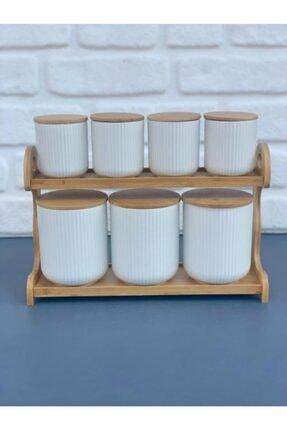 AROW Porselen Bambu Standlı Baharatlık