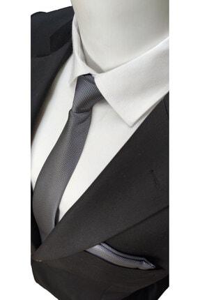 Elegante Cravatte Füme Renk Armürlü Dokuma Kravat Ve Mendil