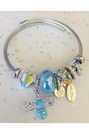 Pandora Anofel Charmlı Gümüş Şık Bileklik Mavi