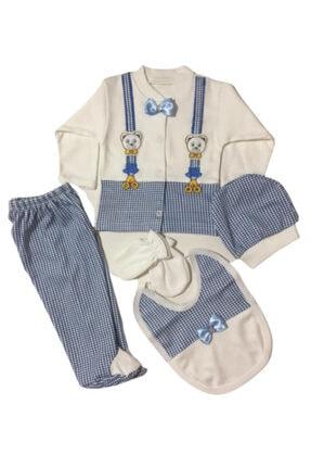 Bambino Erkek Bebek Mavi Ayıcıklı Papyonlu 5'li Hastane Çıkış Seti