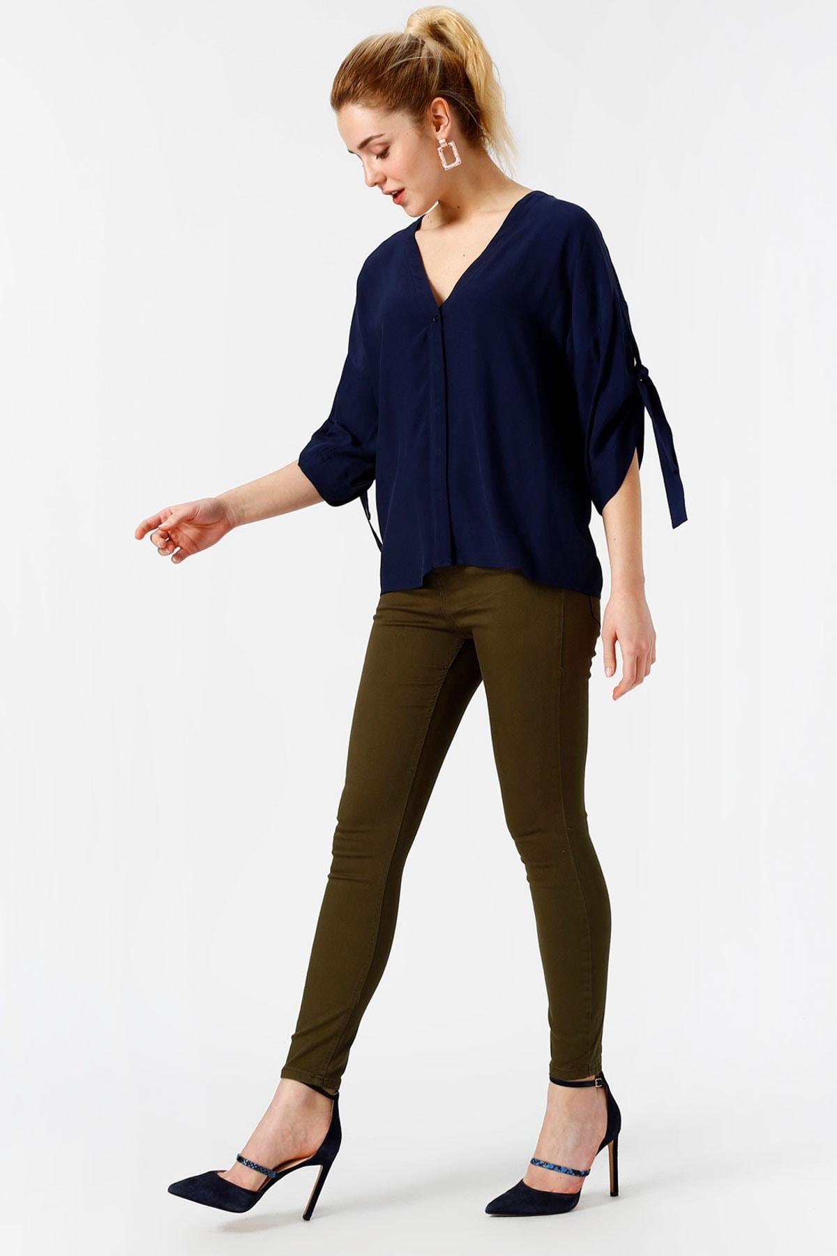 Vero Moda Kadın Yeşil Dar Paça Normal Bel Pantolon 10209868 VMHOT 1