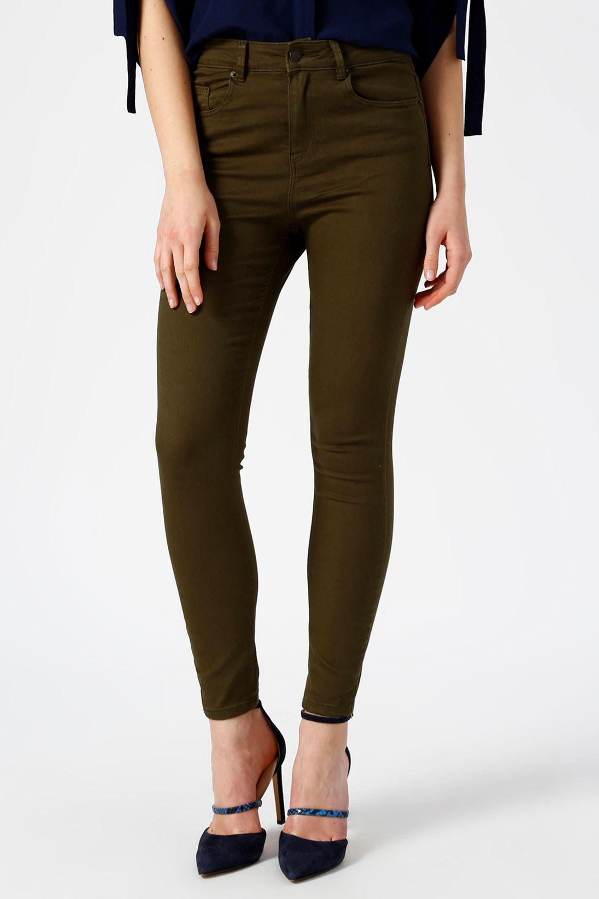 Vero Moda Kadın Yeşil Dar Paça Normal Bel Pantolon 10209868 VMHOT 2