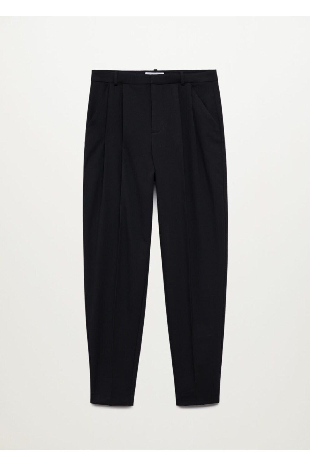 MANGO Woman Kadın Siyah Cepli Pantolon 1