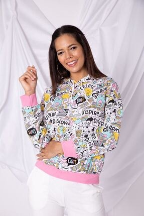 Zafoni Kadın Beyaz Sweatshirt