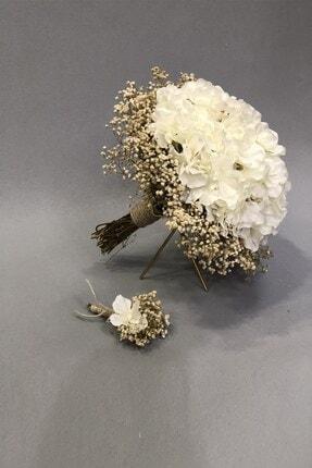 Hayalperest boncuk Beyaz Ortancalı Cipsolu Gelin Buket Ve Yaka Çiçeği