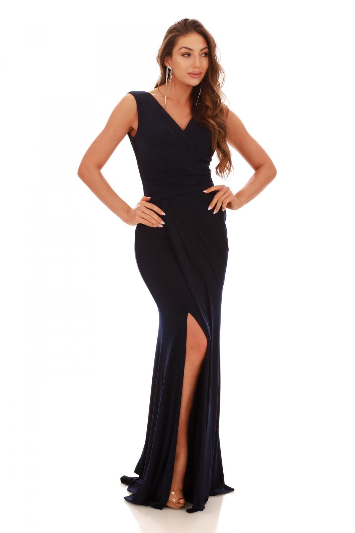 Carmen Kadın Lacivert Sandy Yırtmaçlı Uzun Abiye Elbise PC55269 1