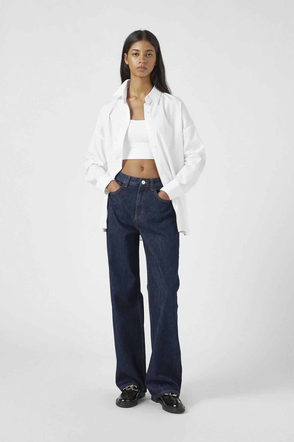 Pull & Bear Kadın Lacivert Mavi Baggy Fit Jean 09683330