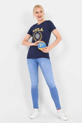 UCLA ARTESIA Lacivert Bisiklet Yaka Kadın T-shirt