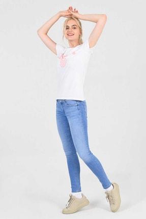 UCLA MOJAVE Beyaz Bisiklet Yaka Kadın T-shirt