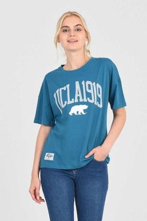 UCLA ARCATA Mavi Bisiklet Yaka Baskılı Kadın Tshirt