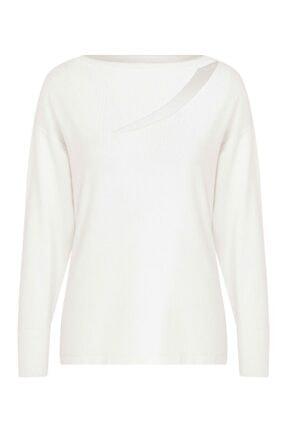 Arzu Kaprol Kadın Beyaz Uzun Kollu Triko Bluz