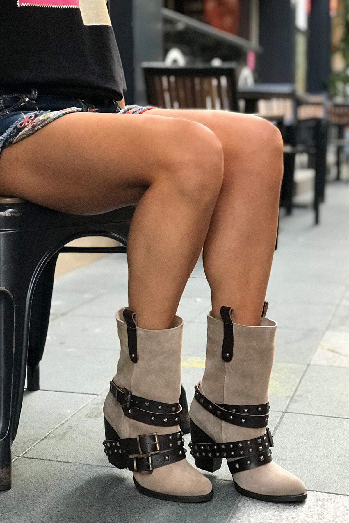trendytopuk Kadın Vizon Hakiki Süet Kemerli Topuklu Bot 2