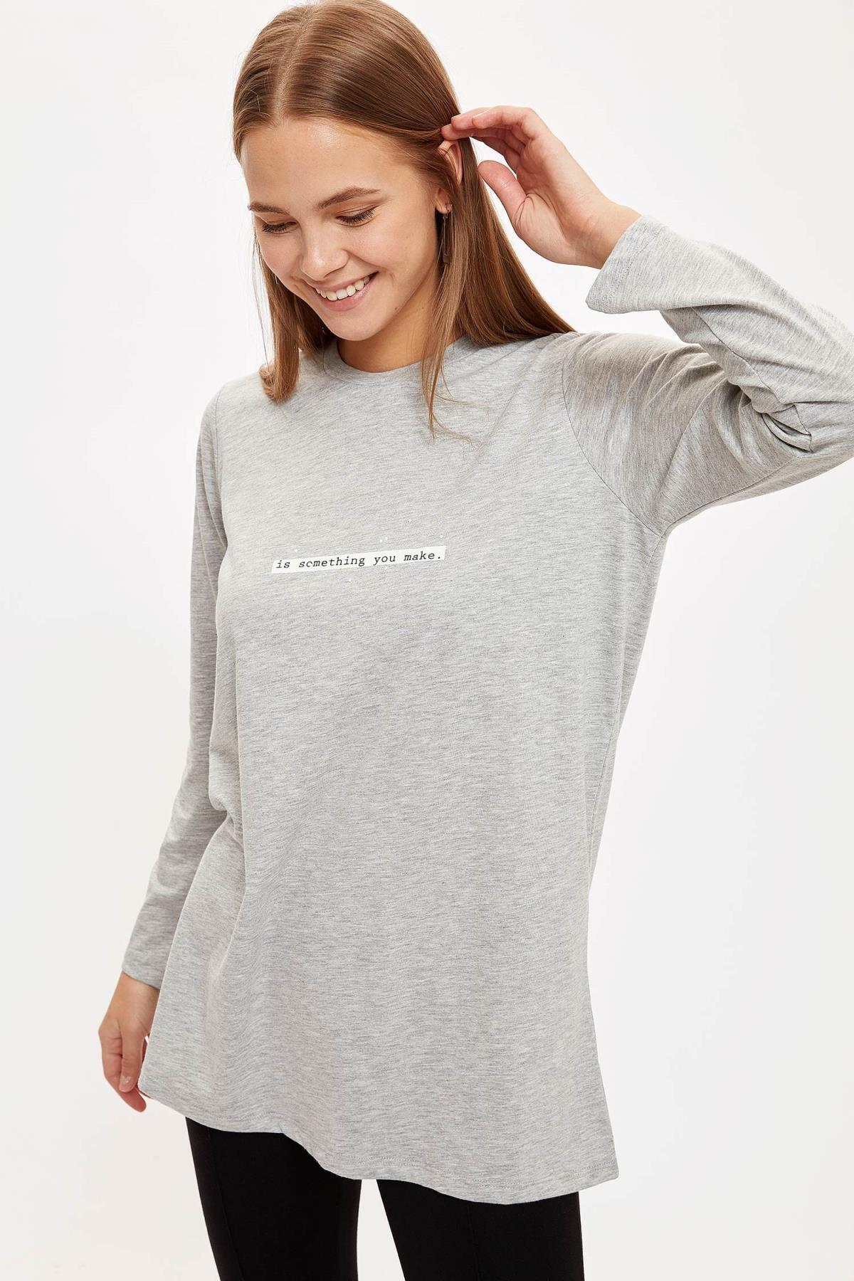 DeFacto Kadın Grey Baskılı Relax Fit Tunik S8901AZ20AU
