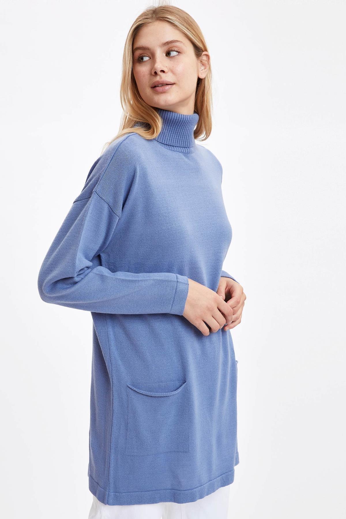 DeFacto Kadın Blue Cepli Triko Tunik R5702AZ20CW