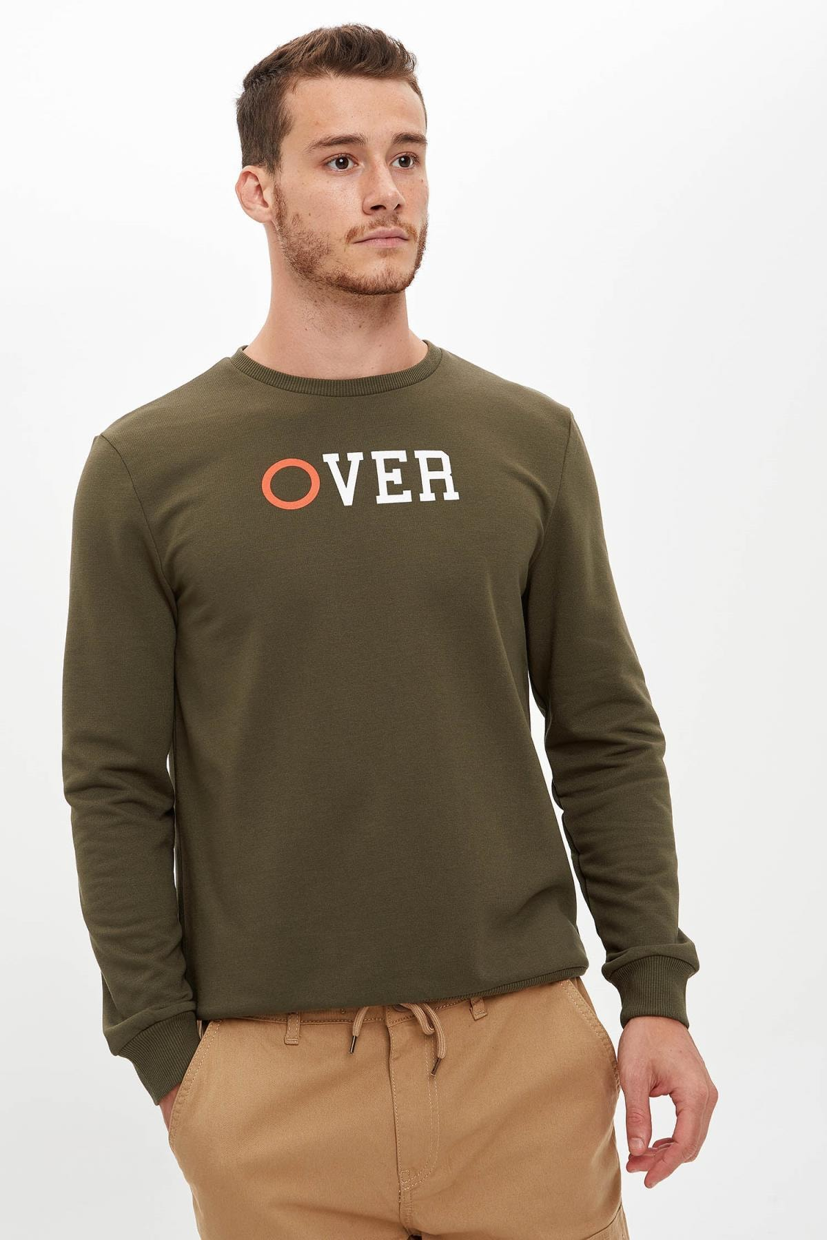 DeFacto Over Baskılı Bisiklet Yaka Slim Fit Sweatshirt