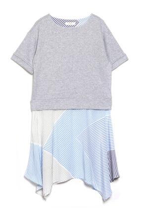 Bexy Kadın Gri  Çizgili Sweatshirt Elbise 160220-1