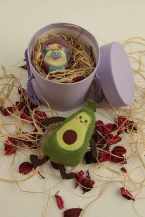 moryconcept Hediyelik Eko Boy Özel Kutulu Mini Ayıcık Küre, Avokado Anahtarlık