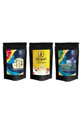 Bongardi Coffee 3x200 gr Yöresel Set Brezilyan Santos Etiyopya Intense Filtre Kahve Makinesi Uyumlu