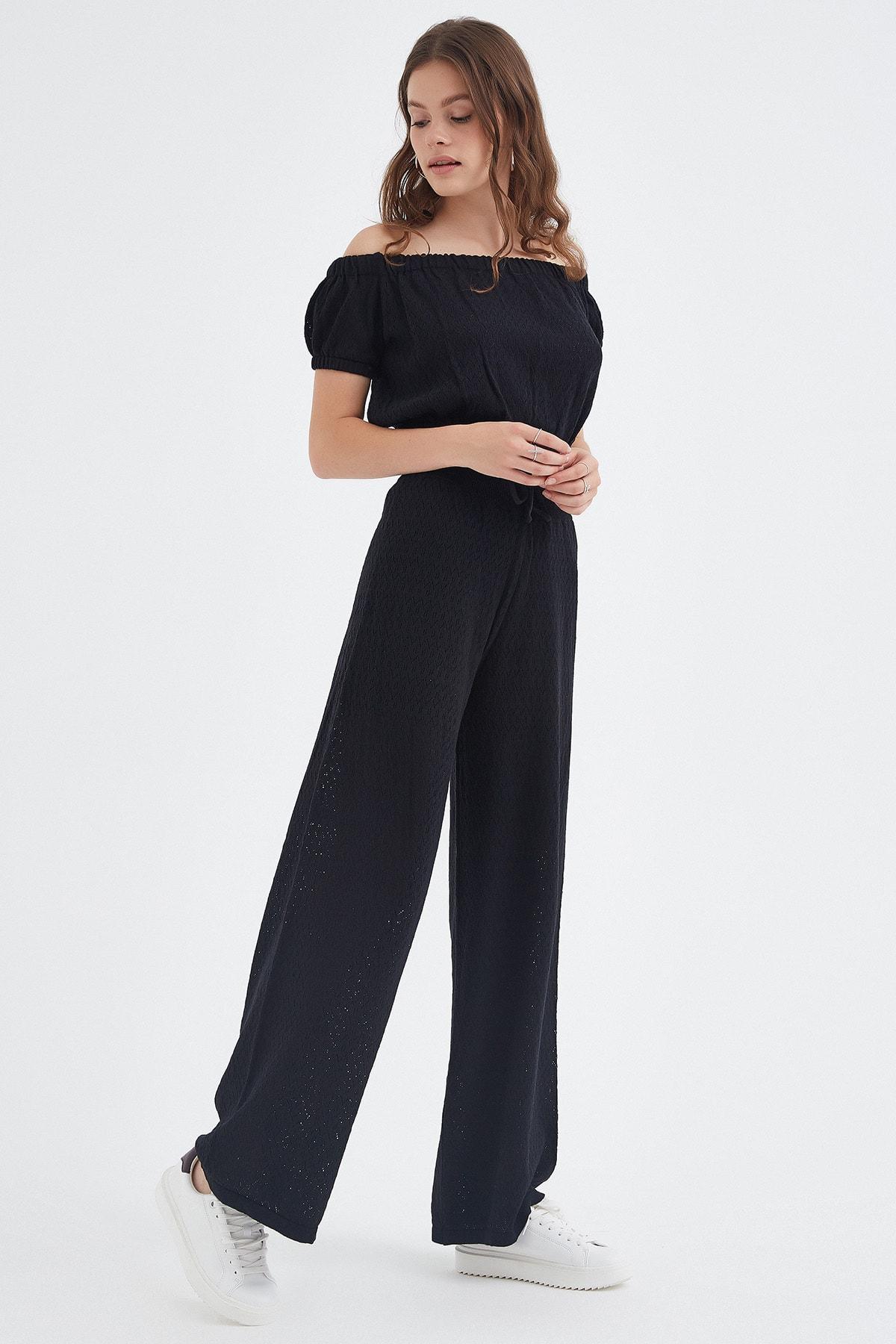 Nisan Triko Kadın Siyah Ajurlu Triko Pantolon 2