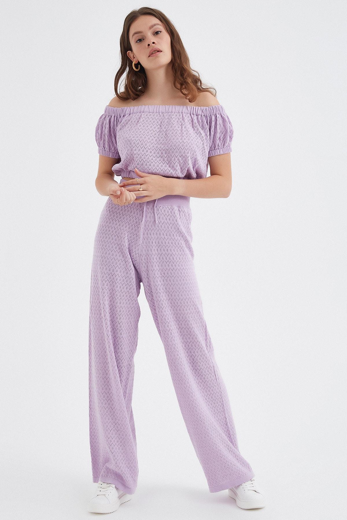 Nisan Triko Kadın Lila Ajurlu Triko Pantolon 1