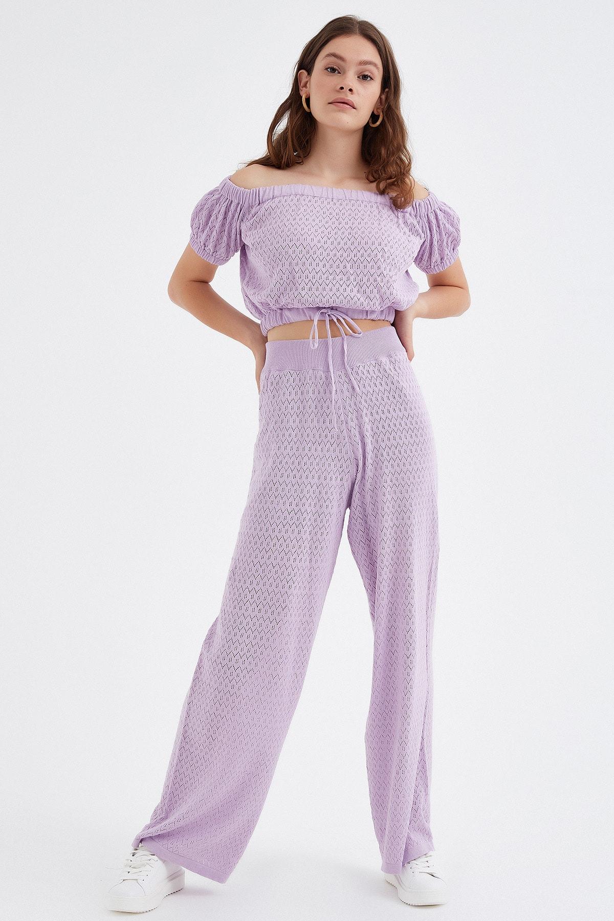 Nisan Triko Kadın Lila Ajurlu Triko Pantolon 2