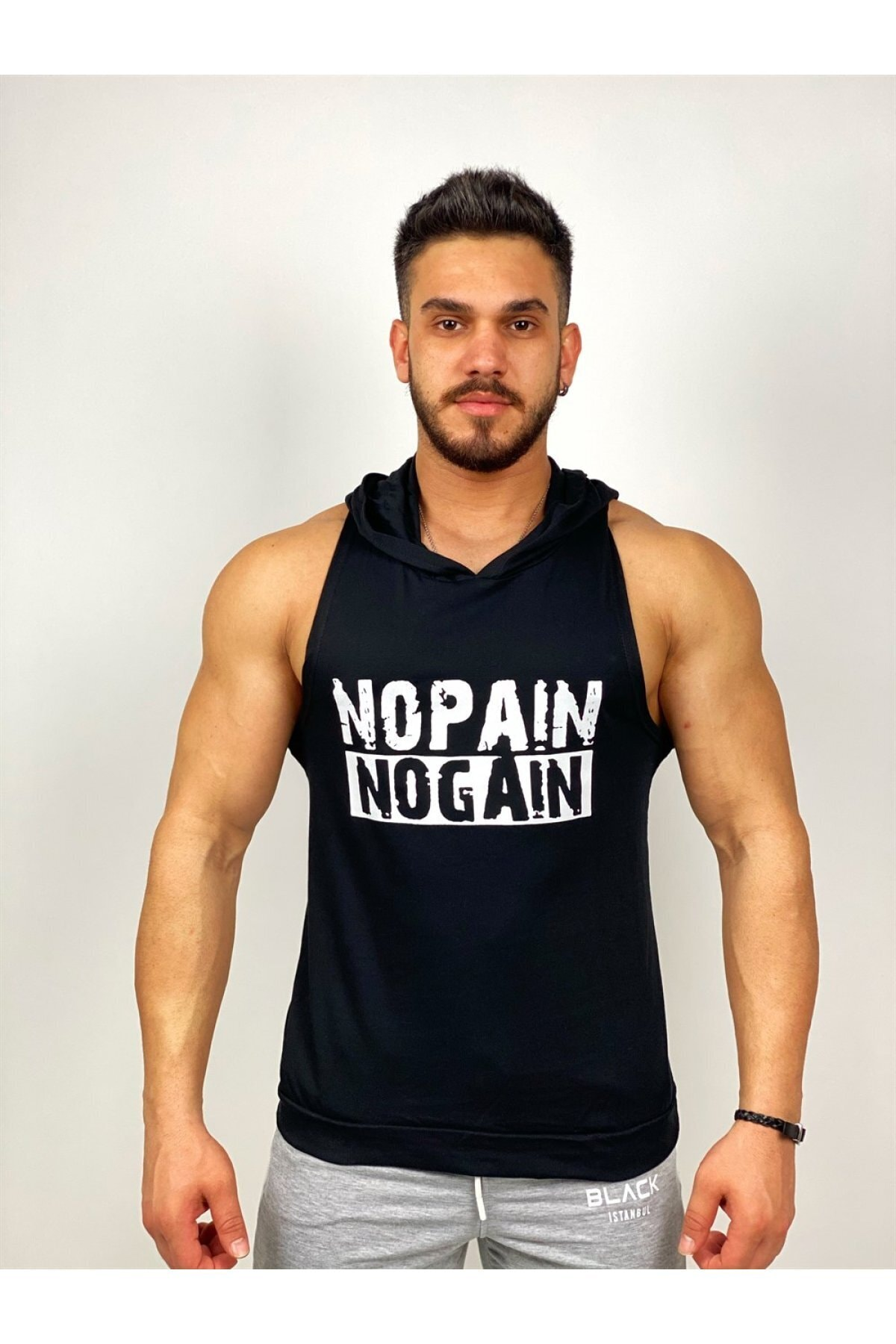 BLACK - Nopain Nogain Kapşonlu Fitness Atleti 1