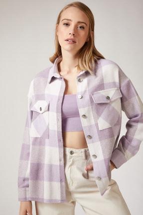 Happiness İst. Kadın Lila Kareli Yünlü Ceket Gömlek DD00744
