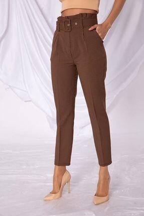 Zafoni Kadın Kahverengi Kumaş Pantolon
