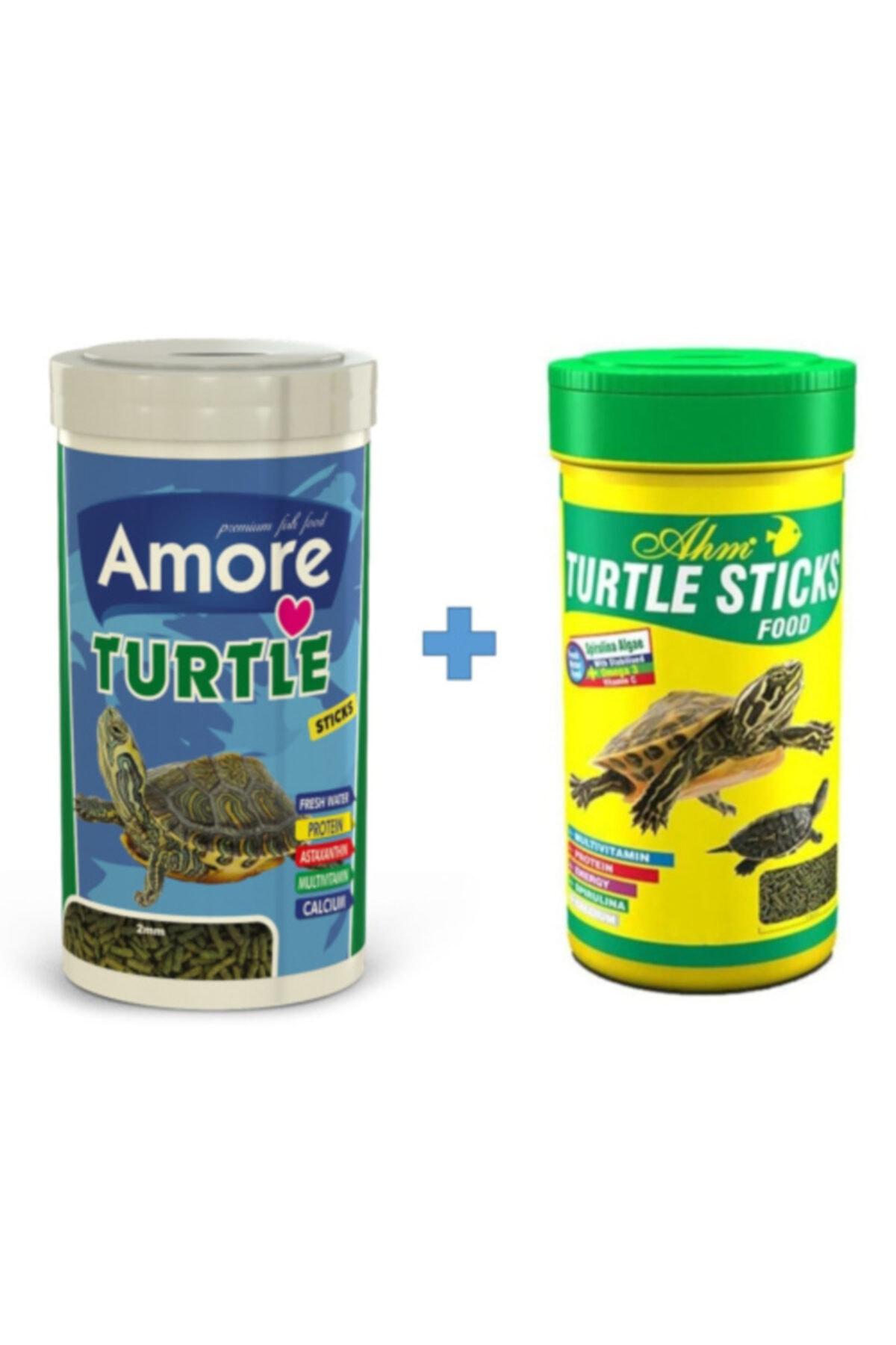 AMORE Turtle Sticks 250ml + Ahm Turtle 250ml Vitamin Kalsiyum Mineral Plus Sürüngen Ve Kaplumbağa Yemi 1