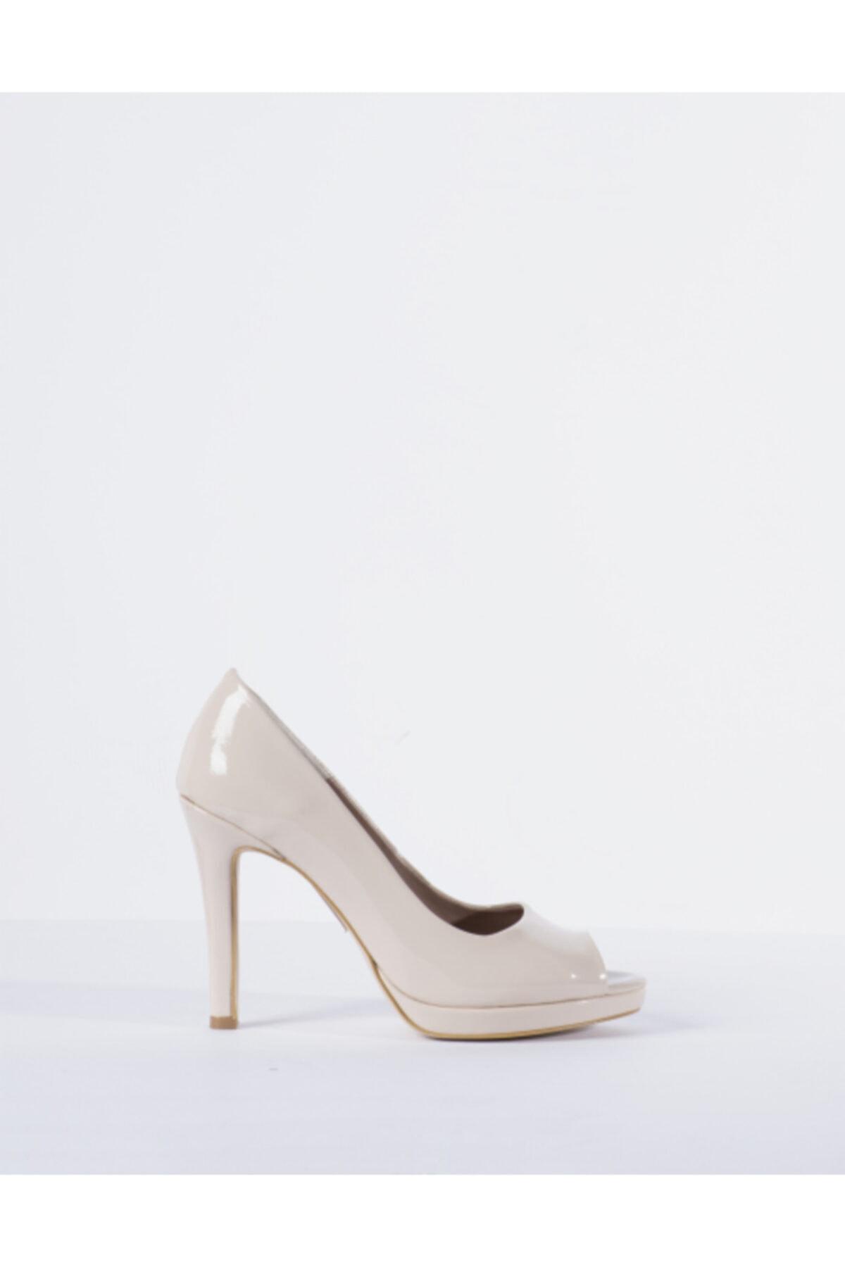 Vision Kadın Krem Rugan Burnu Açık Topuklu Ayakkabı 1