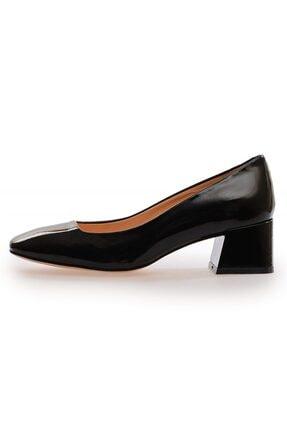 Flower Kadın Siyah Rugan Kalın Topuklu Ayakkabı