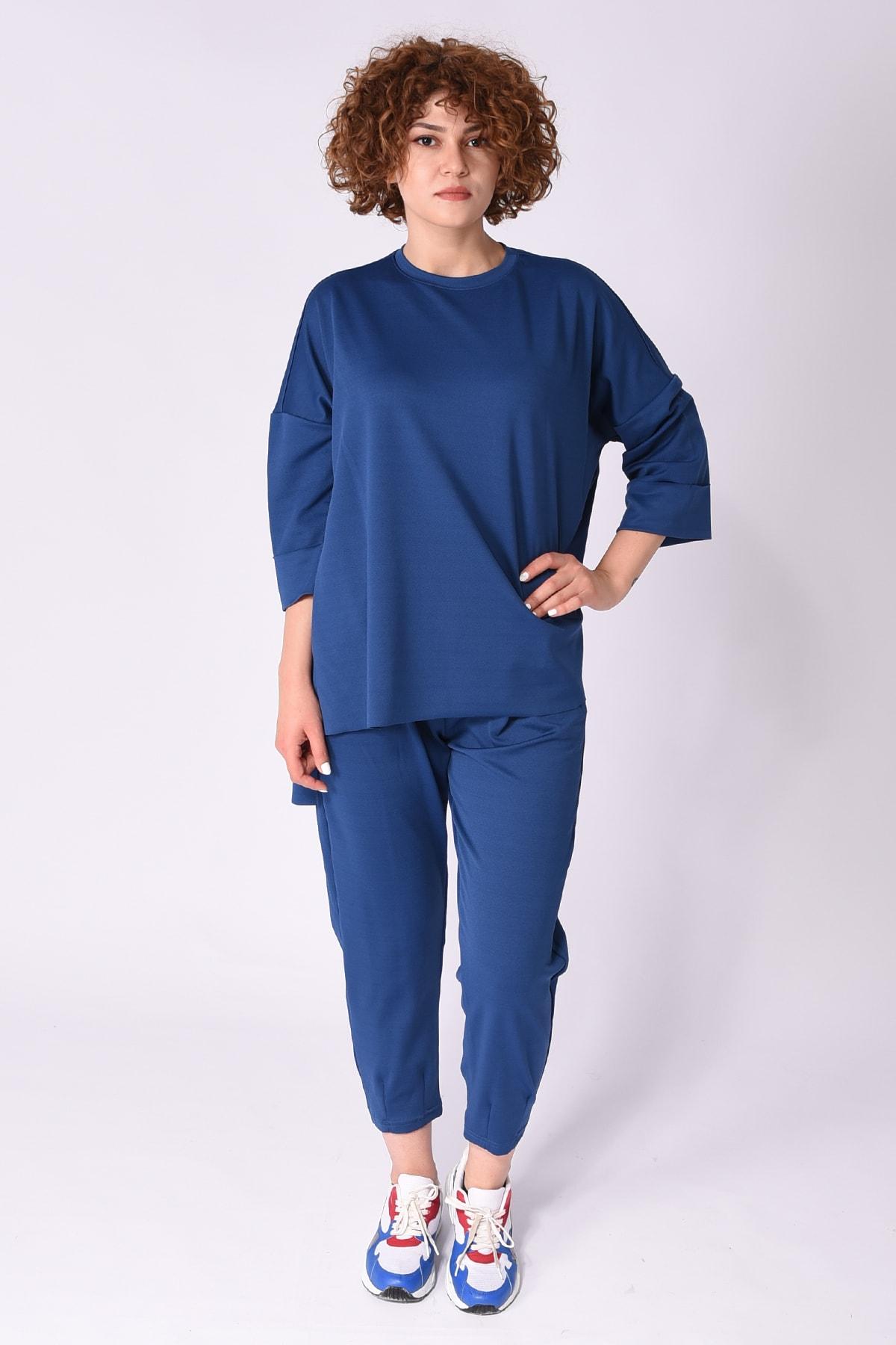 Samtoni Kadın Lacivert Sweatshirt Alt Üst Takım 1