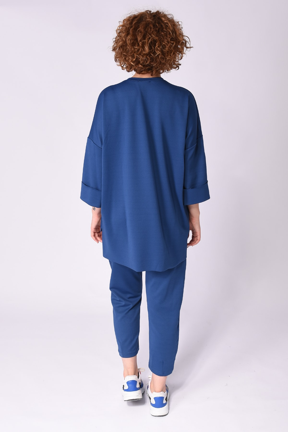 Samtoni Kadın Lacivert Sweatshirt Alt Üst Takım 2