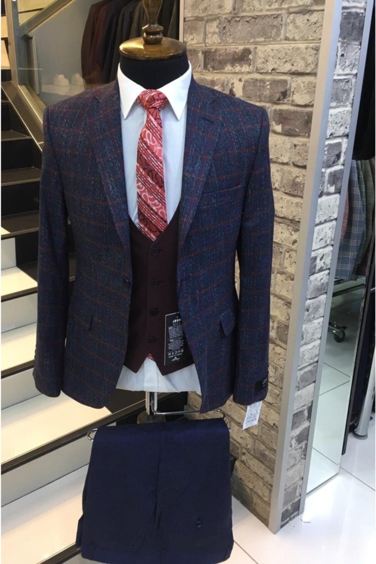 John Wick Erkek Lacivert Mono Yaka Slimfit Takım Elbise 1