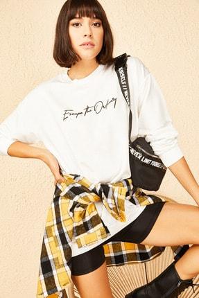 Bianco Lucci Kadın Beyaz Escape Baskılı Basic Sweatshirt