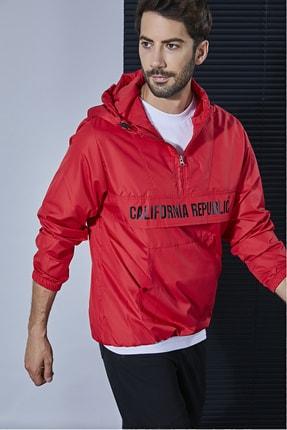 Sateen Men Erkek Kırmızı Kapşonlu Yağmurluk