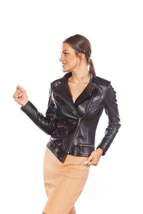 Deriza Francesca Siyah Hakiki Kadın Deri Ceket