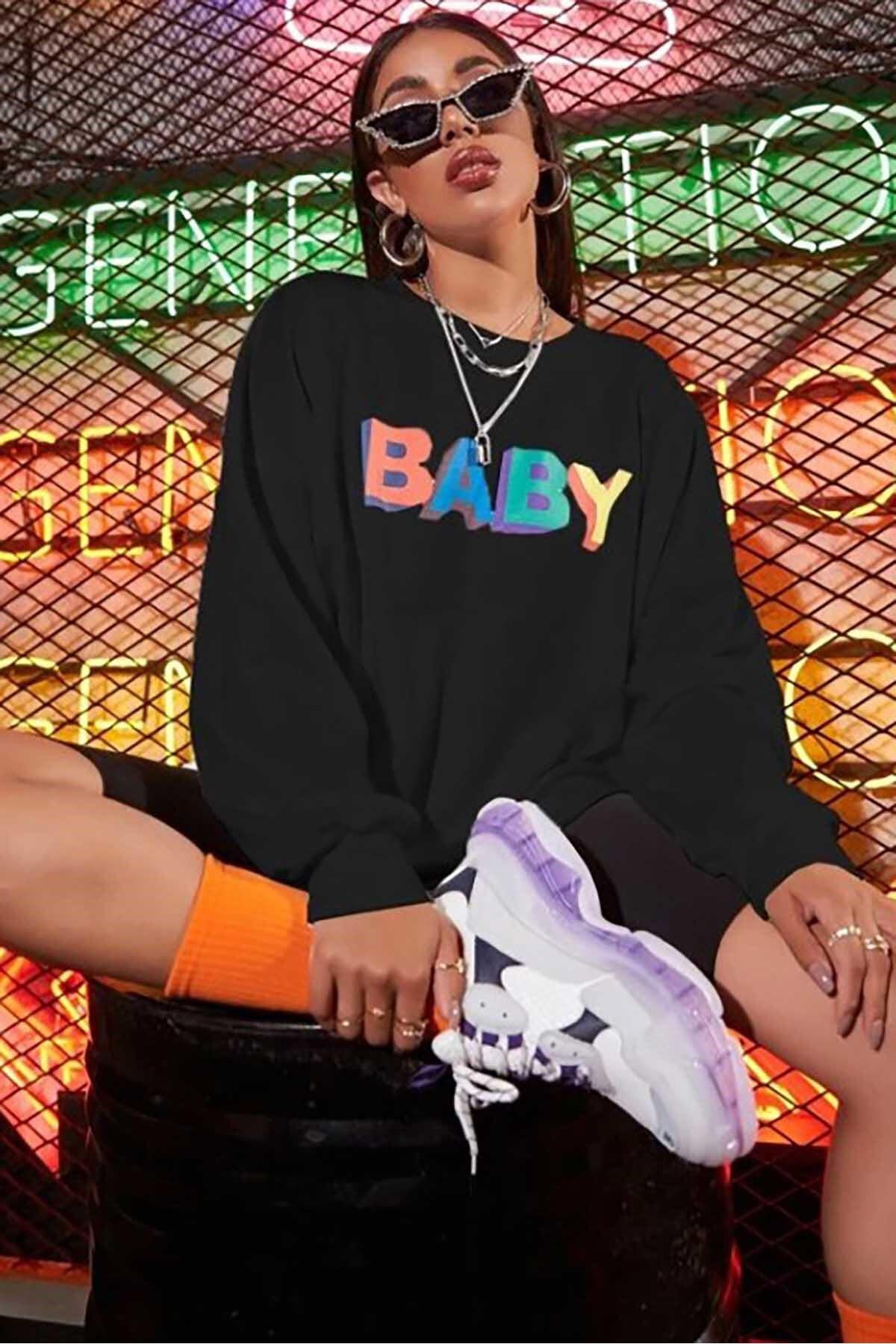 Madmext Mad Girls Siyah Baby Baskılı Sweatshirt MG791 1