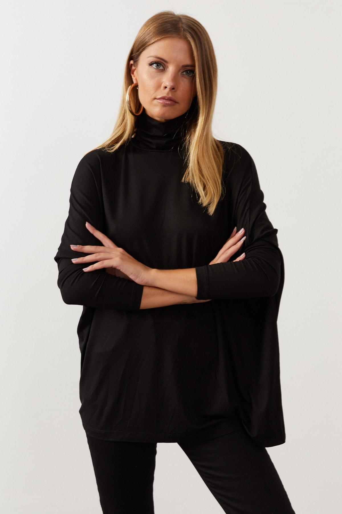 Cool & Sexy Kadın Siyah Yarasa Kol Balıkçı Bluz EY1049 2