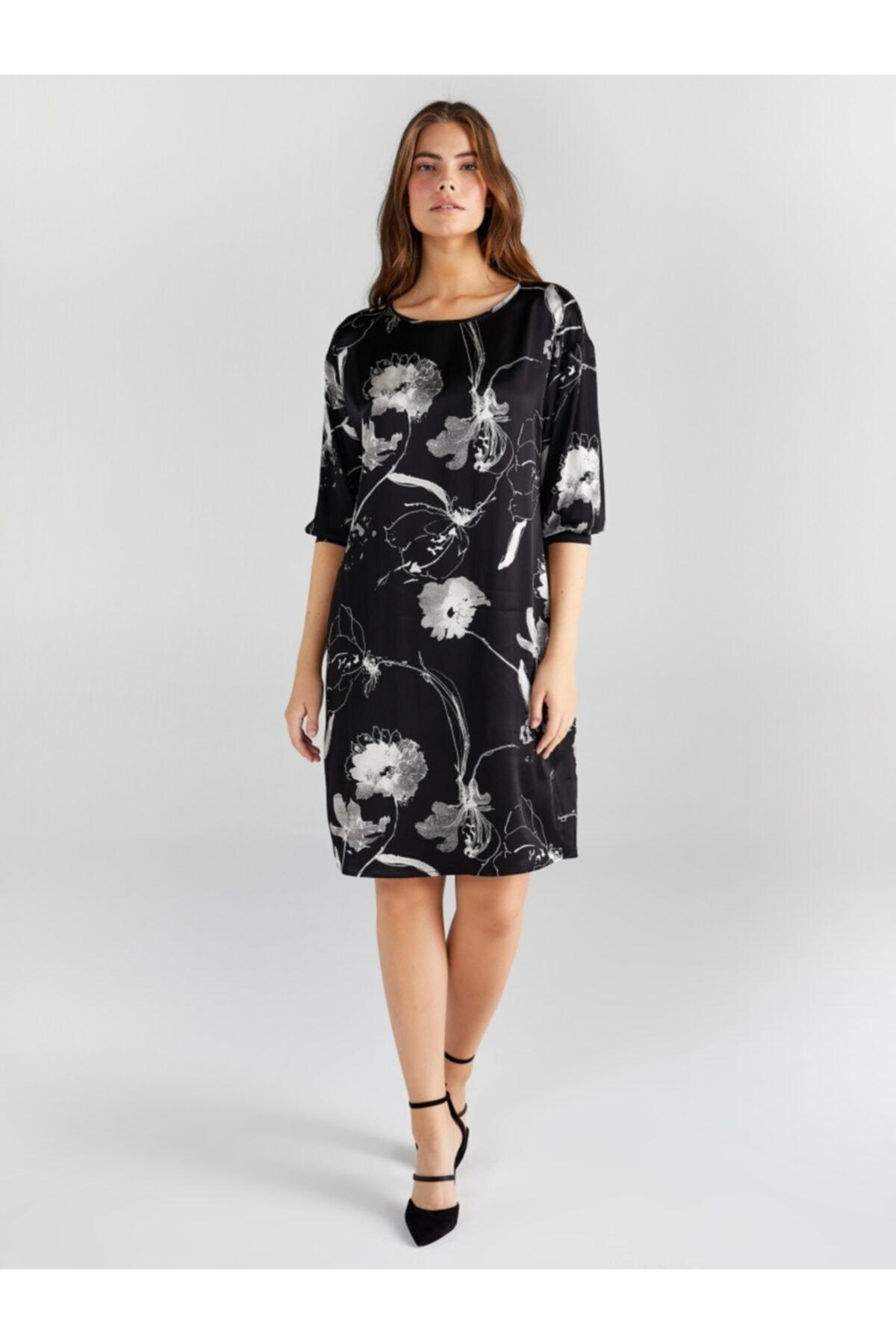 Faik Sönmez Kadın Siyah Çiçek Desenli Saten Elbise 1