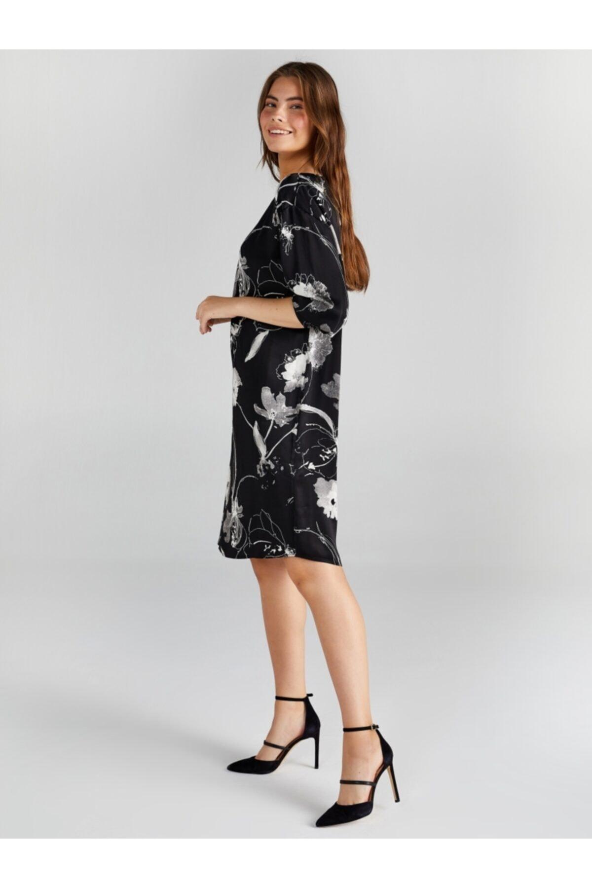 Faik Sönmez Kadın Siyah Çiçek Desenli Saten Elbise 2