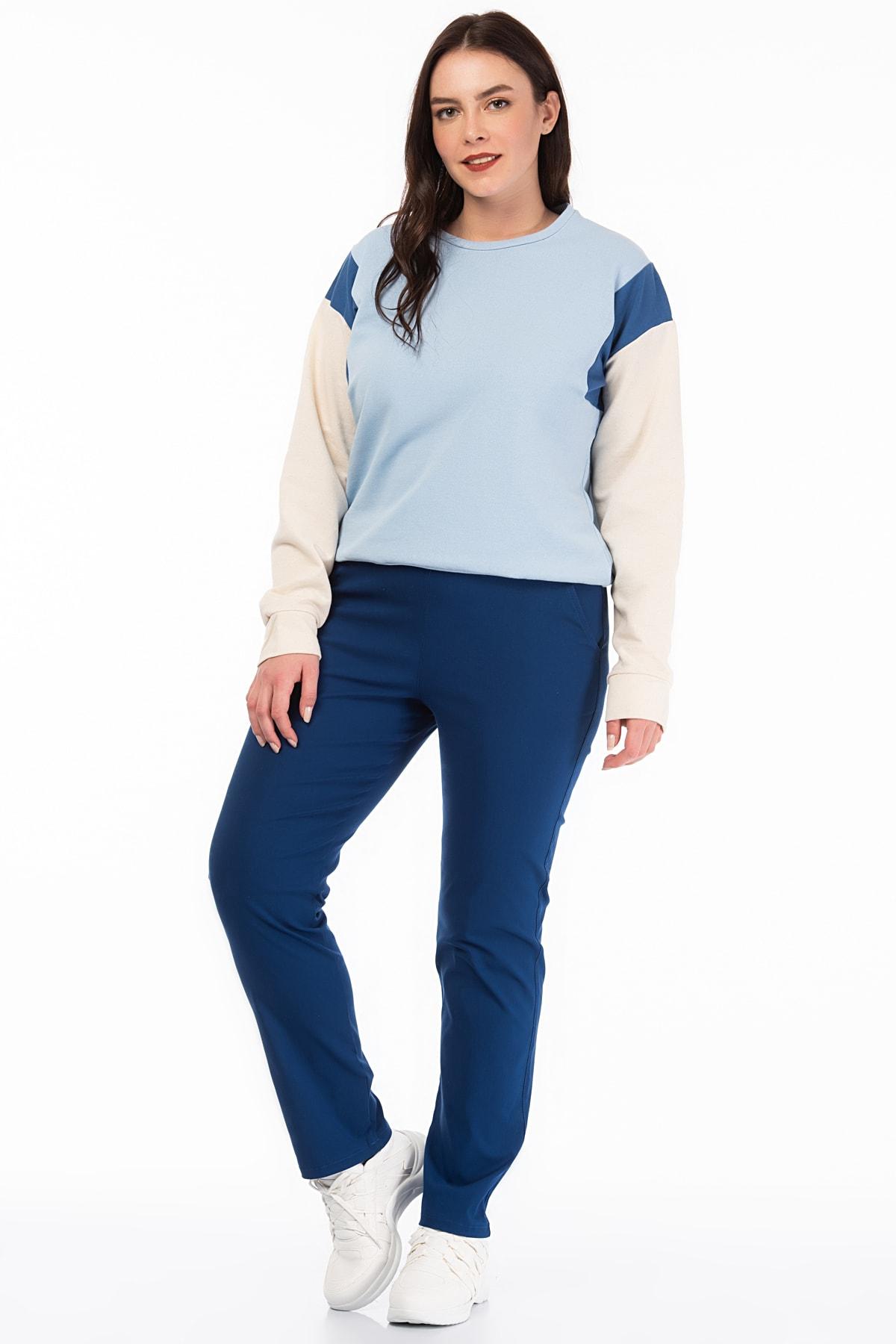 Şans Kadın Saks Likralı Bengalin Kumaş  Bel Kısmı Lastik Detaylı Cepli Pantolon 65N18450 1
