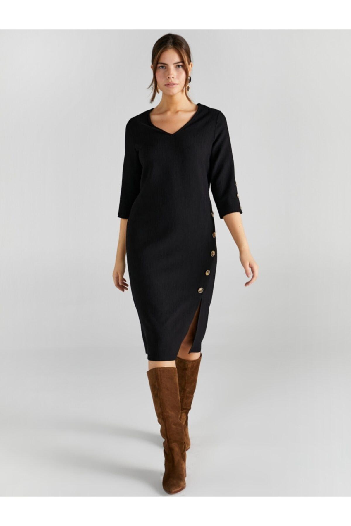 Faik Sönmez Kadın Siyah V Yaka Düğme Detaylı Elbise 1