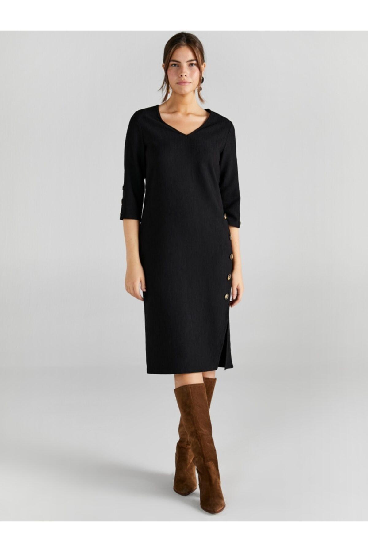 Faik Sönmez Kadın Siyah V Yaka Düğme Detaylı Elbise 2
