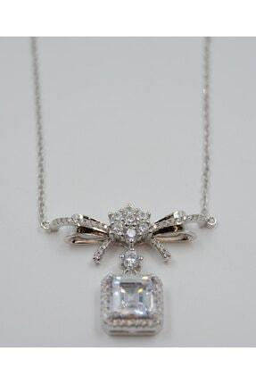 Swarovski Kare Beyaz Zirkon Taşlı 925 Ayar Gümüş Kadın Kolye