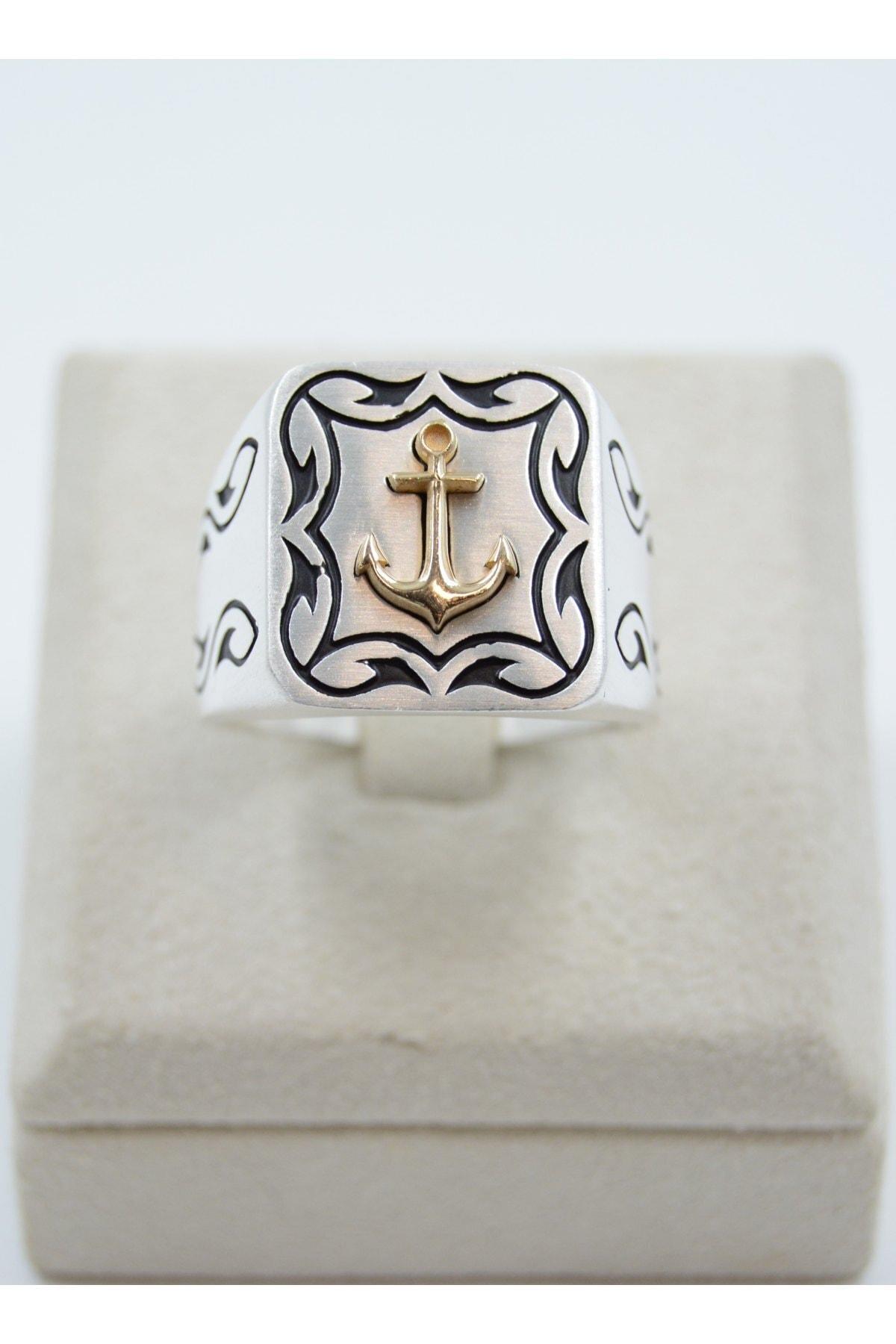 Swarovski Çapa Desenli 925 Ayar Gümüş Erkek Yüzük 1