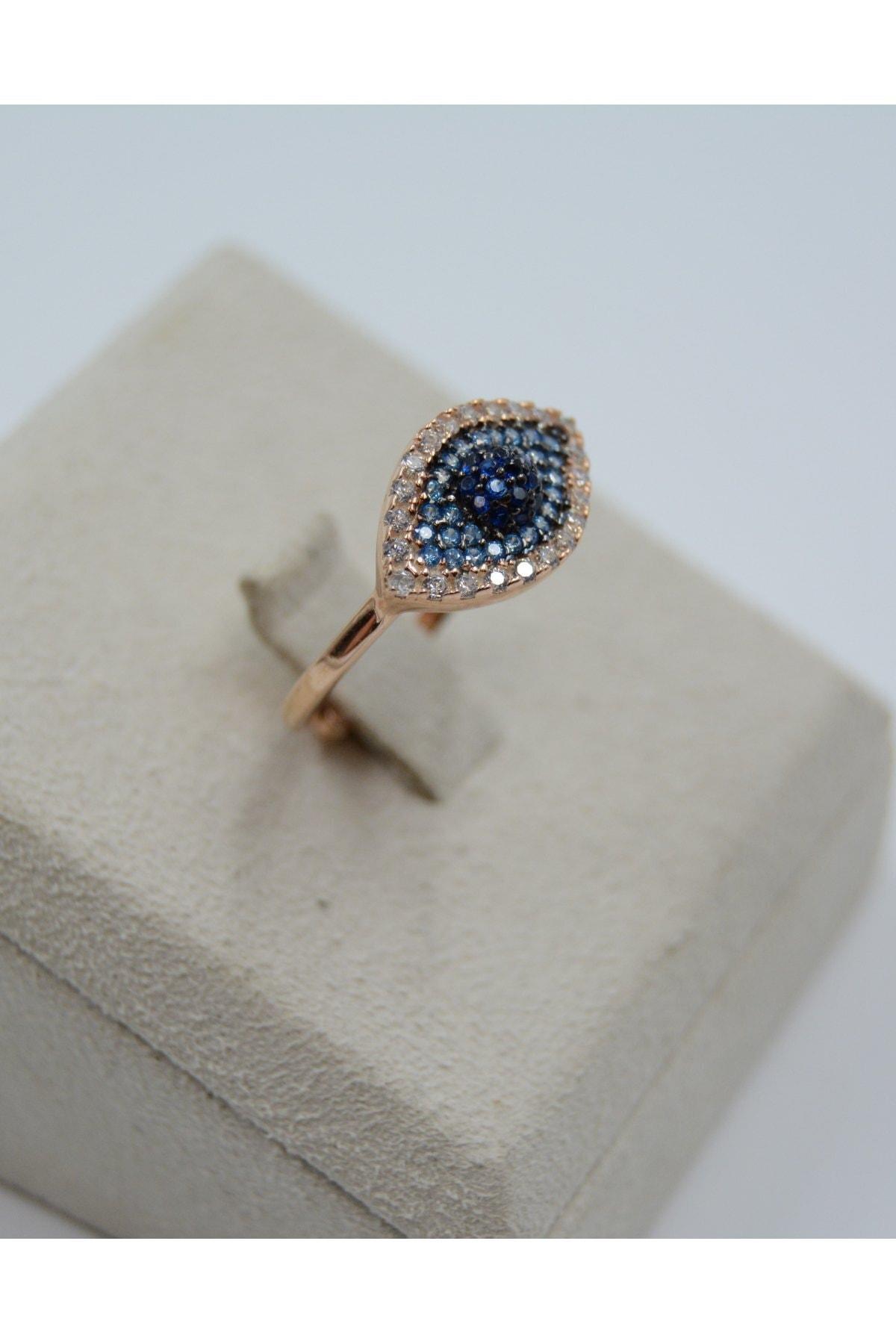 Swarovski Göz Desenli Mavi Zirkon Taşlı 925 Ayar Gümüş Kadın Yüzük 2